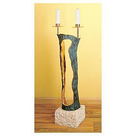 Chandelier deux lumières marbre bronze Molina s1