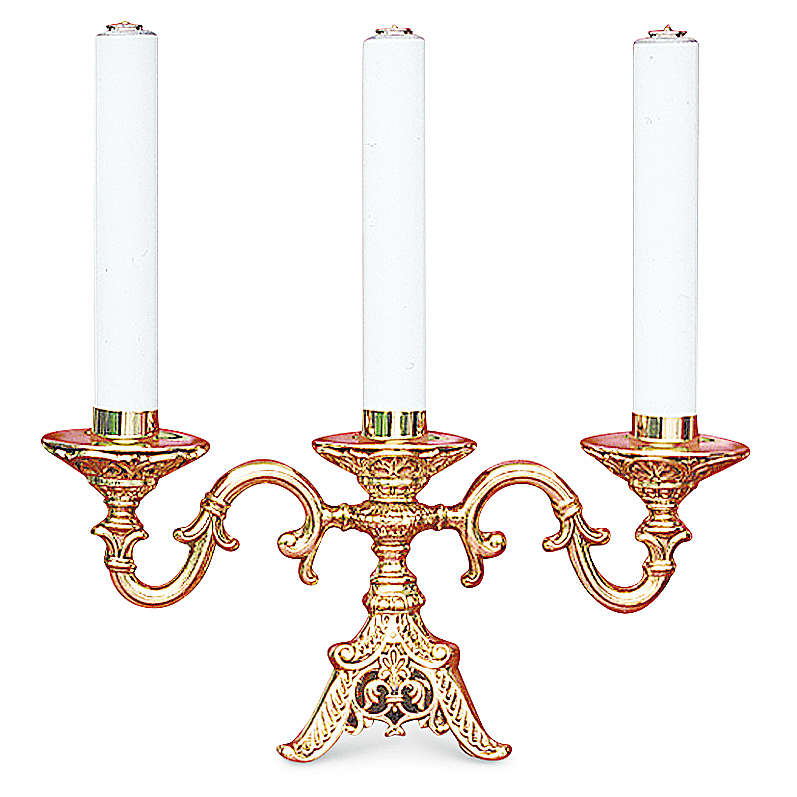 Candelabra in fused brass finished in gold with three cartridges , 22 cm height 4