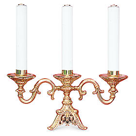 Candelabra in fused brass finished in gold with three cartridges , 22 cm height s1