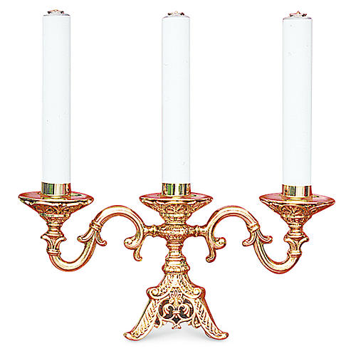 Candelabra in fused brass finished in gold with three cartridges , 22 cm height 1