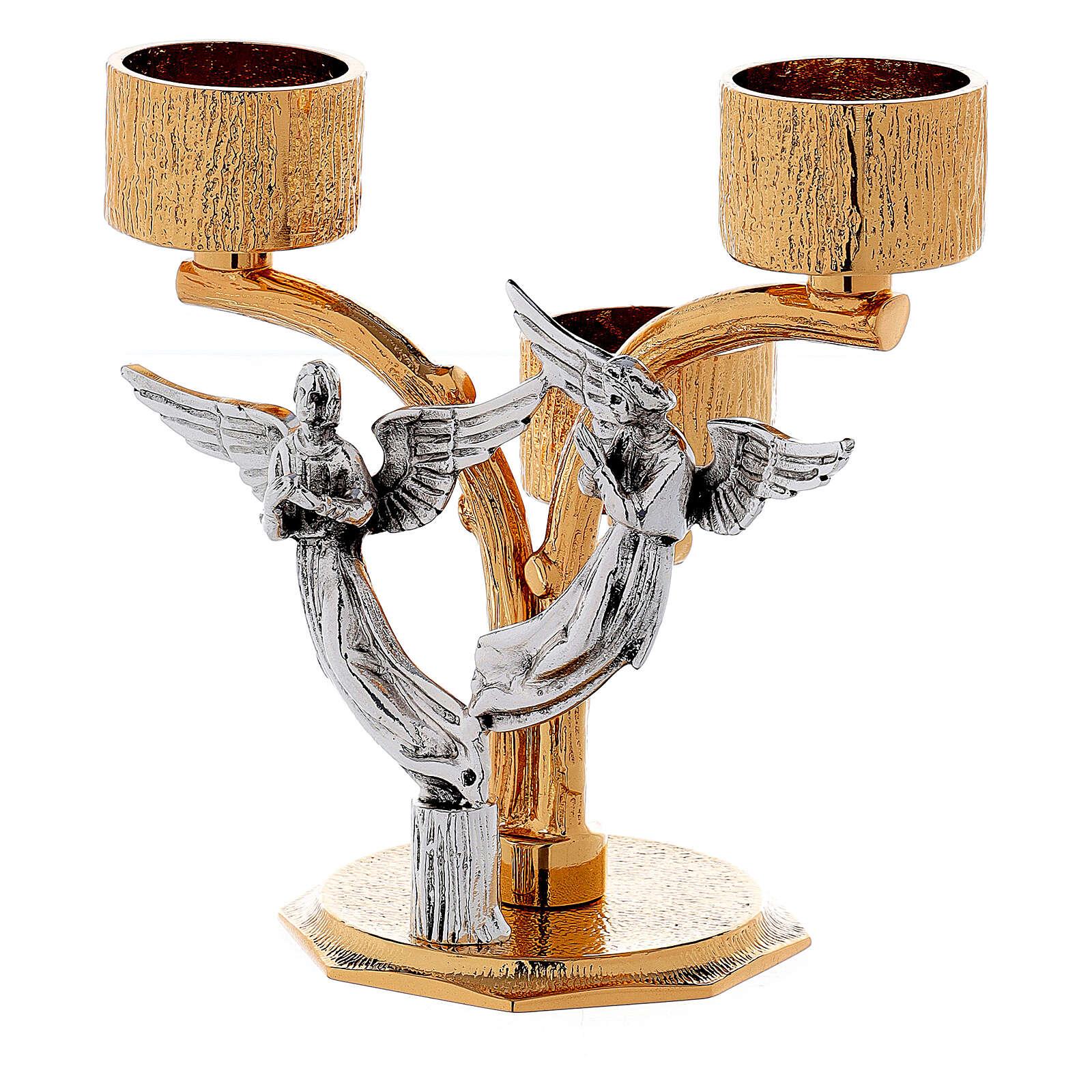 Candelabro angeli ottone fuso 3 bossoli h 18 cm 4