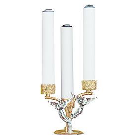 Candelabro angeli ottone fuso 3 bossoli h 18 cm s1