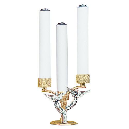 Candelabro angeli ottone fuso 3 bossoli h 18 cm 1