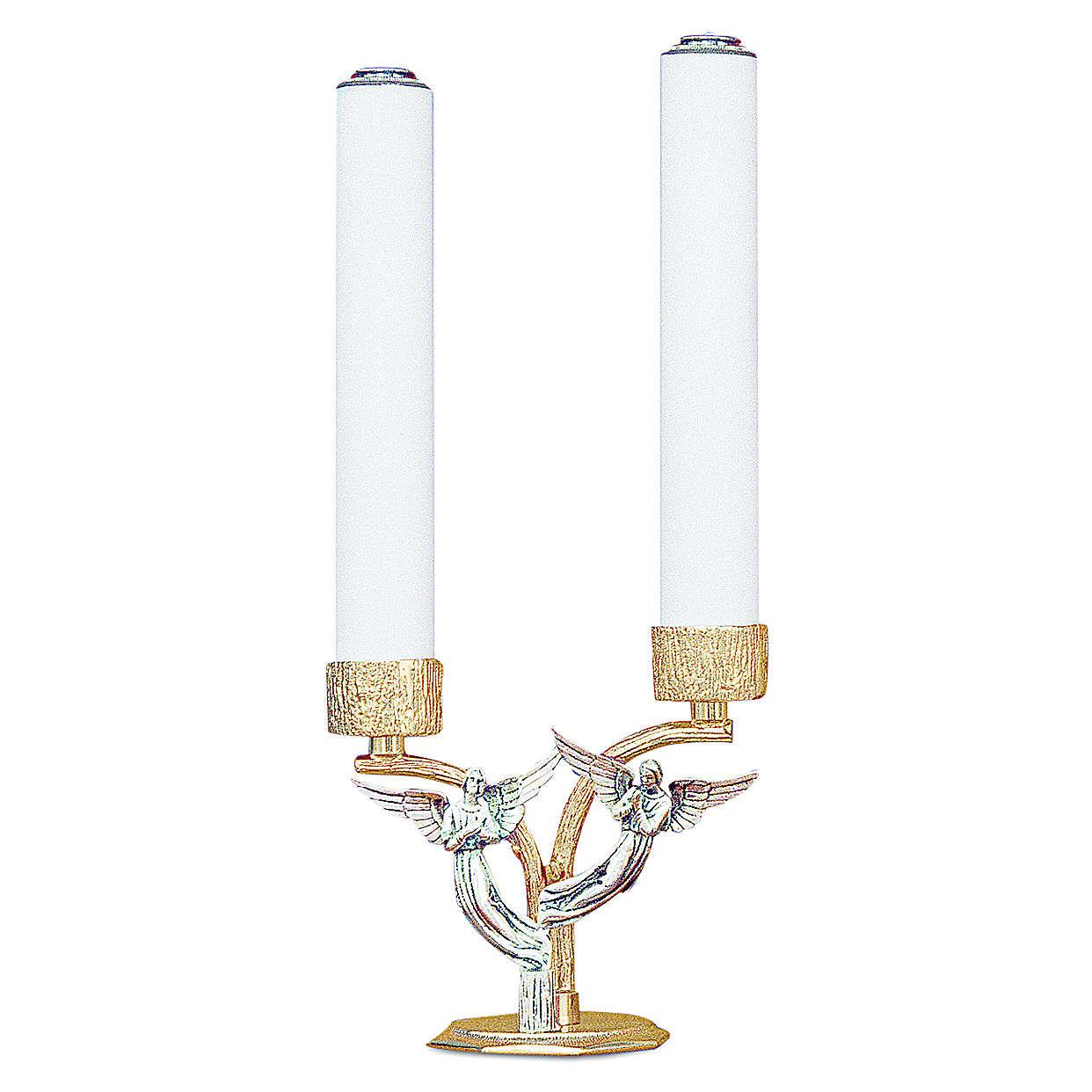 Candelabro angeli in ottone fuso 2 bossoli h 18 cm 4