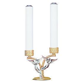 Candelabro angeli in ottone fuso 2 bossoli h 18 cm s1