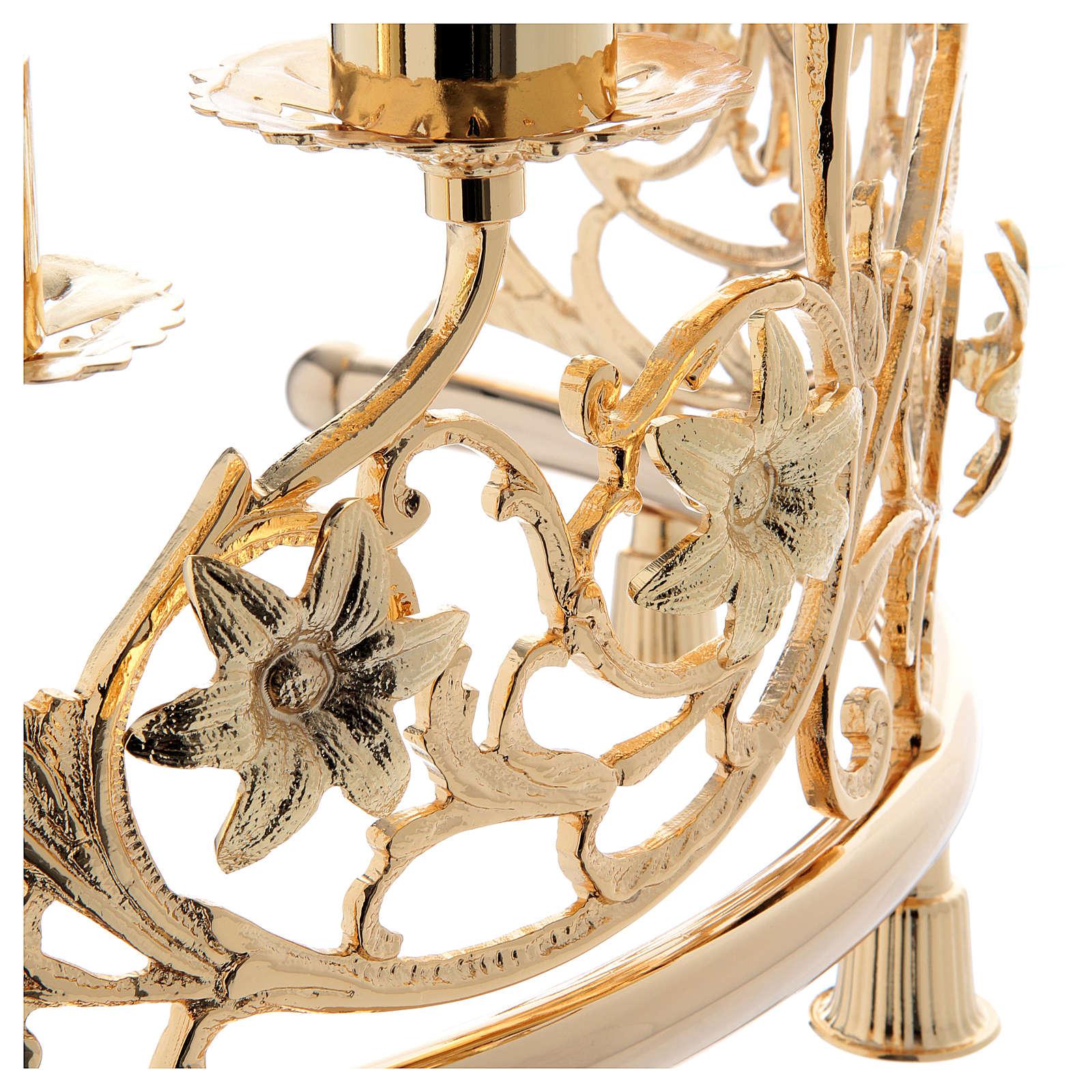 Couple candélabre 6 bagues laiton moulé 30x50 cm style baroque 4