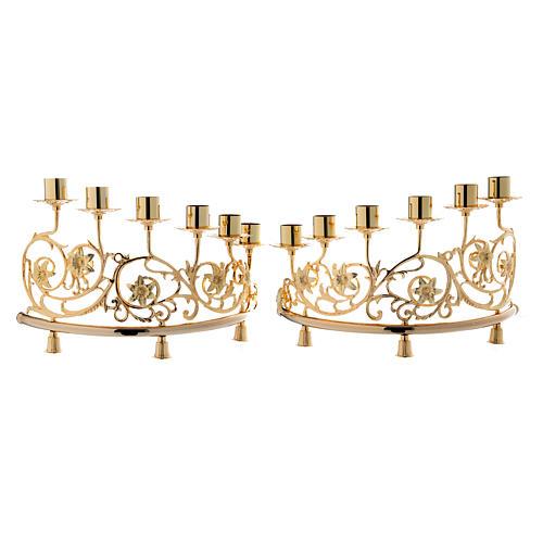 Couple candélabre 6 bagues laiton moulé 30x50 cm style baroque 1