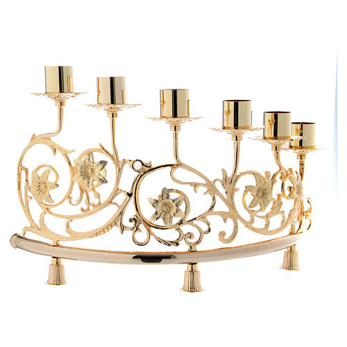 Couple candélabre 6 bagues laiton moulé 30x50 cm style baroque 2