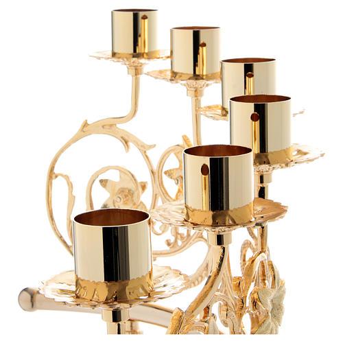 Couple candélabre 6 bagues laiton moulé 30x50 cm style baroque 8