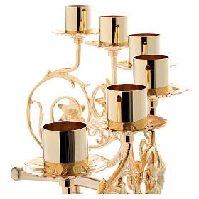 Coppia lumiera 6 bossoli ottone fuso 30x50 cm stile barocco s8