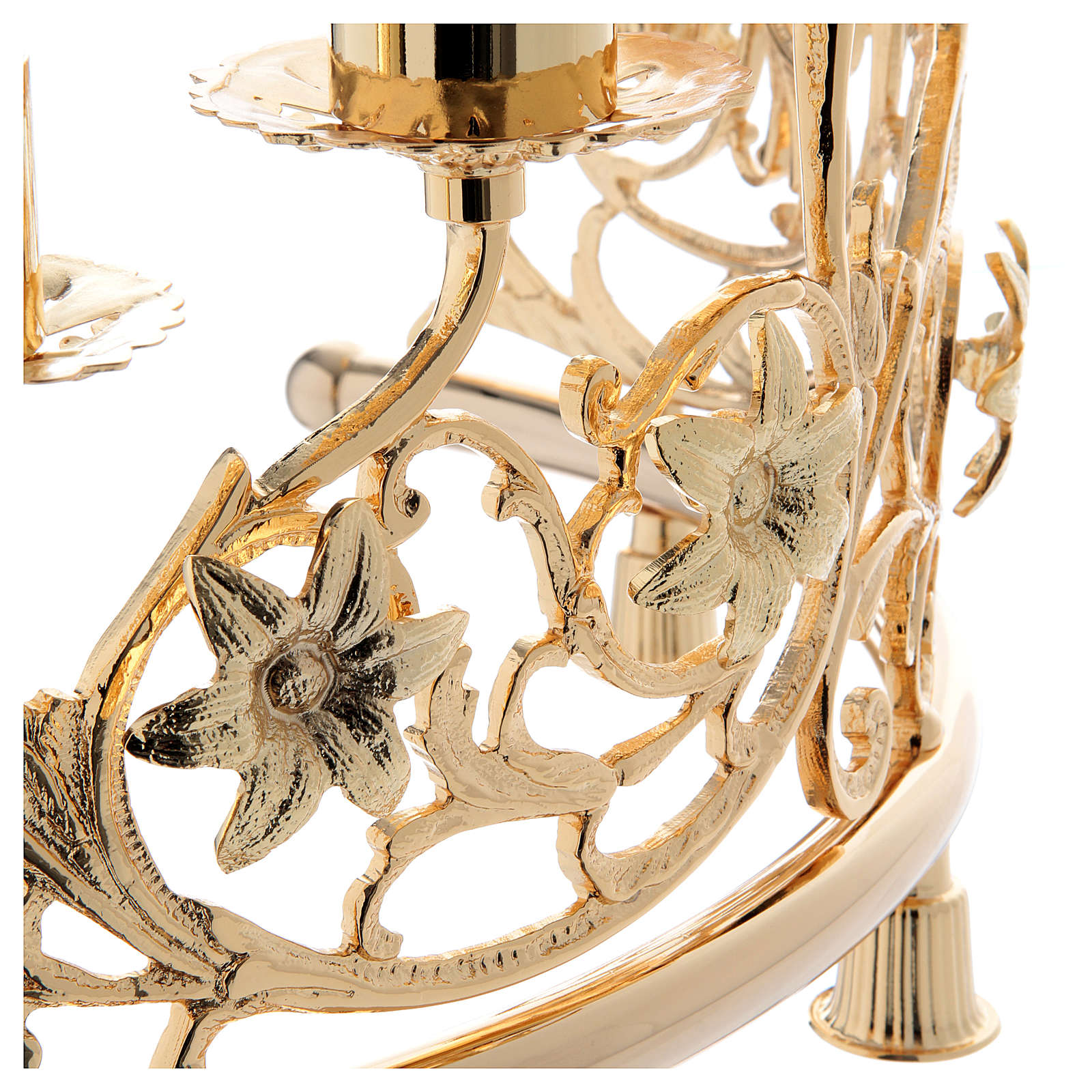 Pair of candelabra with 6 arms in cast brass, Baroque style 30x50cm 4
