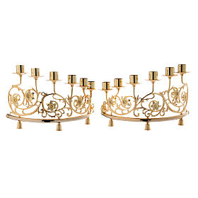 Pair of candelabra with 6 arms in cast brass, Baroque style 30x50cm s1