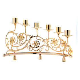 Pair of candelabra with 6 arms in cast brass, Baroque style 30x50cm s5