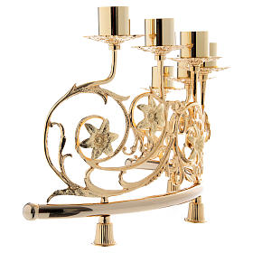 Pair of candelabra with 6 arms in cast brass, Baroque style 30x50cm s6