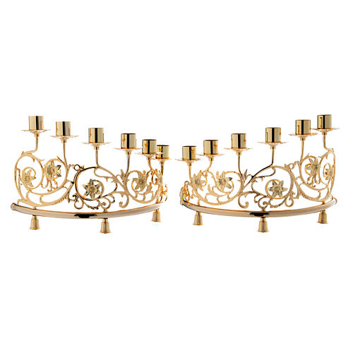 Pair of candelabra with 6 arms in cast brass, Baroque style 30x50cm 1