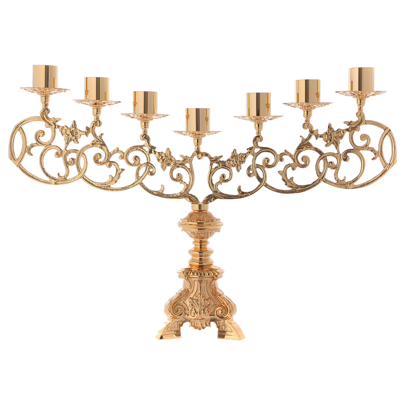 Baroque candelabra in brass for liquid wax candles 4