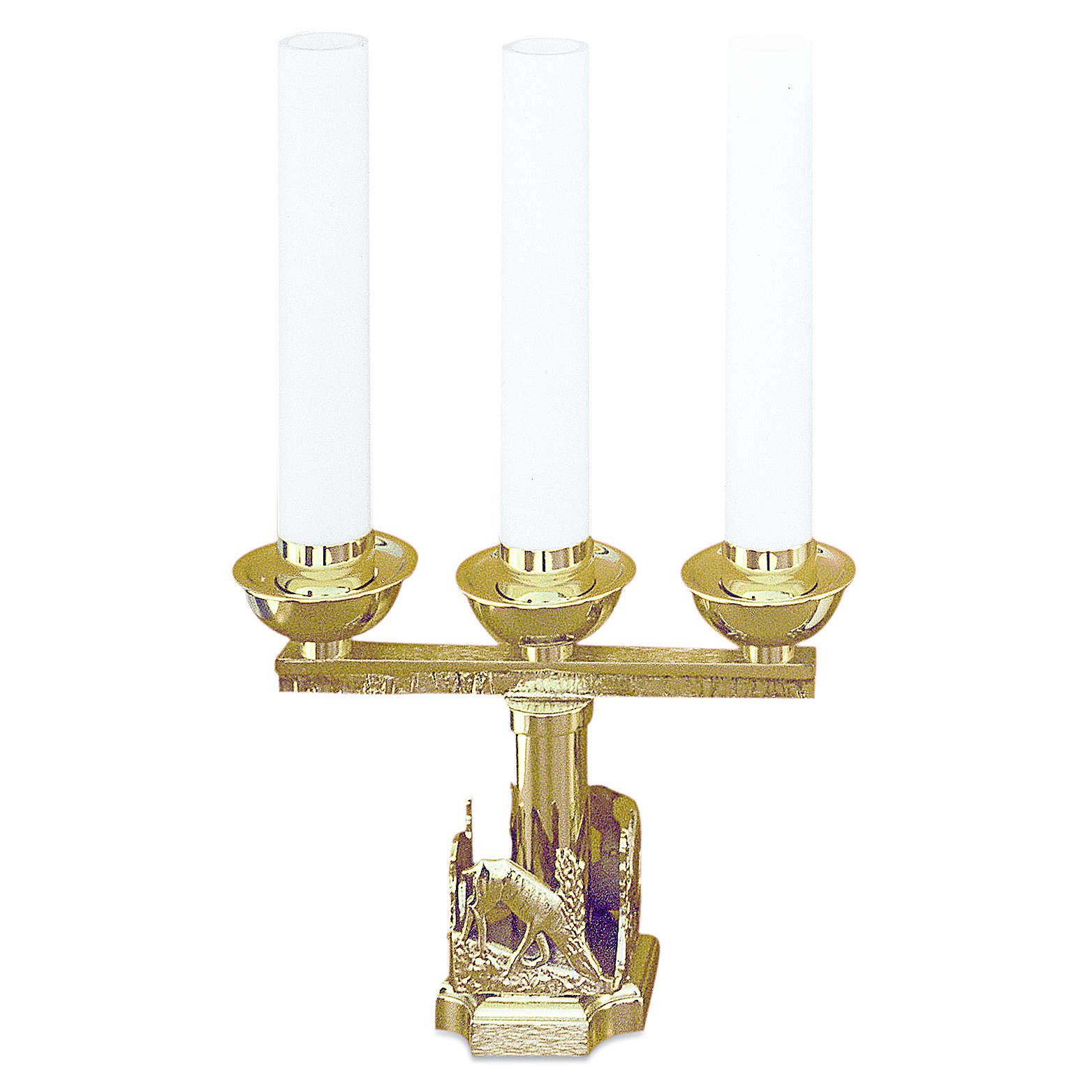 Lumiera 3 bossoli cervi alla fonte ottone dorato h 21 cm 4