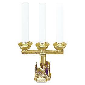 Lumiera 3 bossoli cervi alla fonte ottone dorato h 21 cm s1