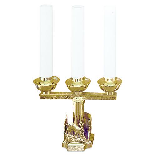 Lumiera 3 bossoli cervi alla fonte ottone dorato h 21 cm 1