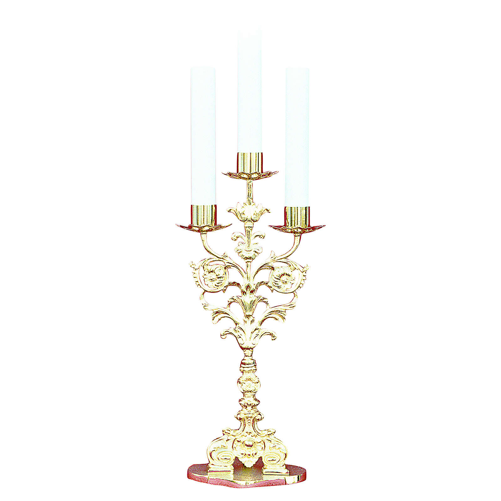 Lumiera barocca 3 bossoli ottone dorato fuso h 52 cm 4