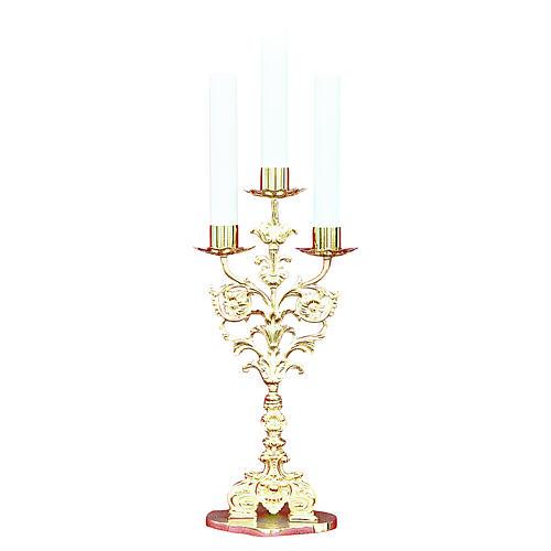 Lumiera barocca 3 bossoli ottone dorato fuso h 52 cm 1