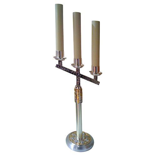 Candélabre 4 évangélistes 3 bagues bicolore laiton moulé 60 cm 1