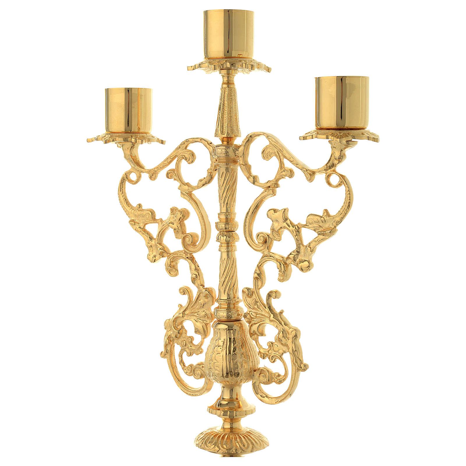 Candelabra for three lights in gold brass 4