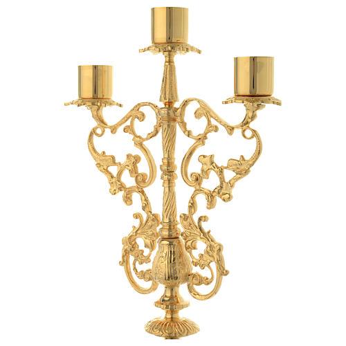 Candelabra for three lights in gold brass 3