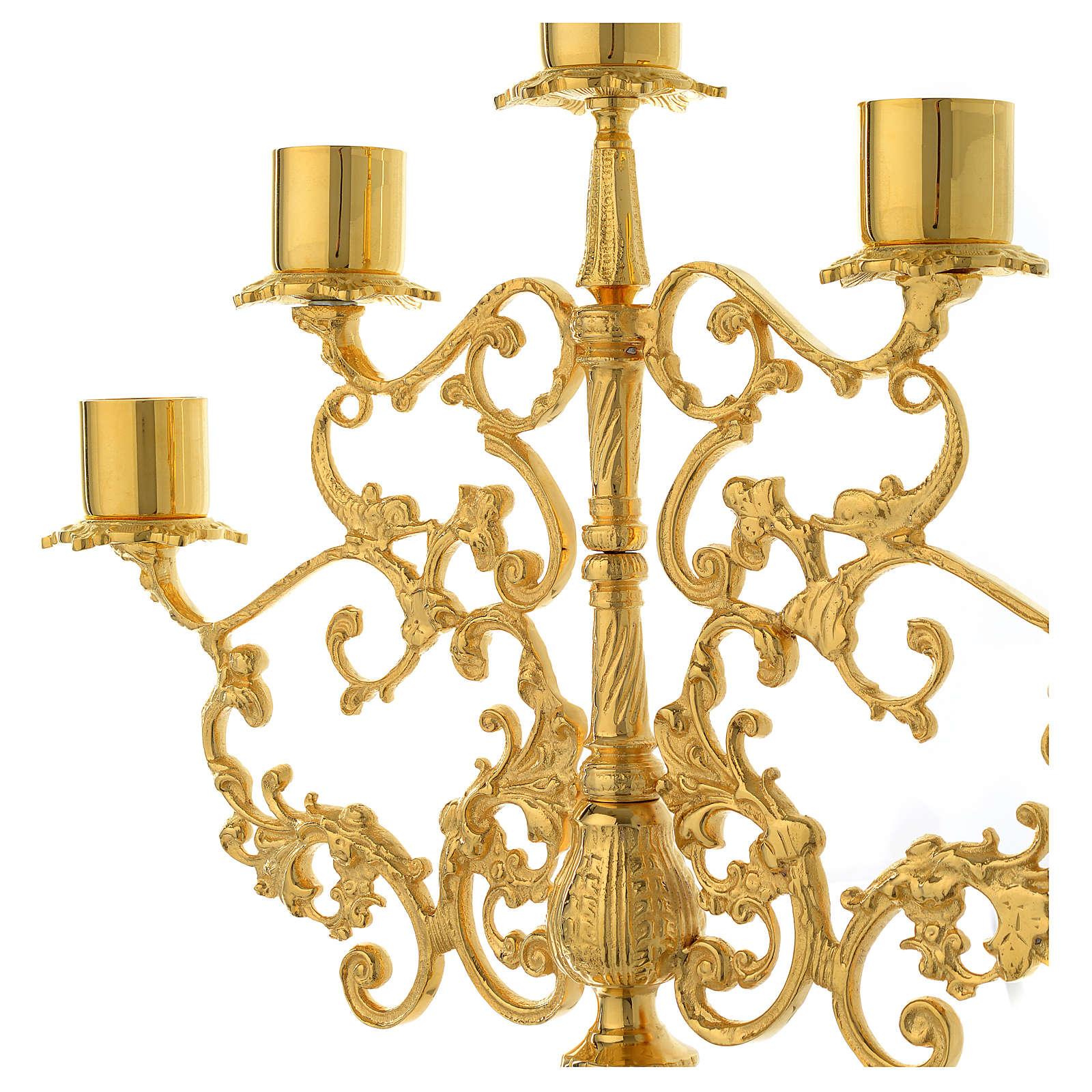 Candelabra for five lights in gold brass 4