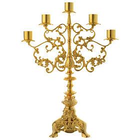 Candelabra for five lights in gold brass s1