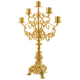 Candelabra for five lights in gold brass s2