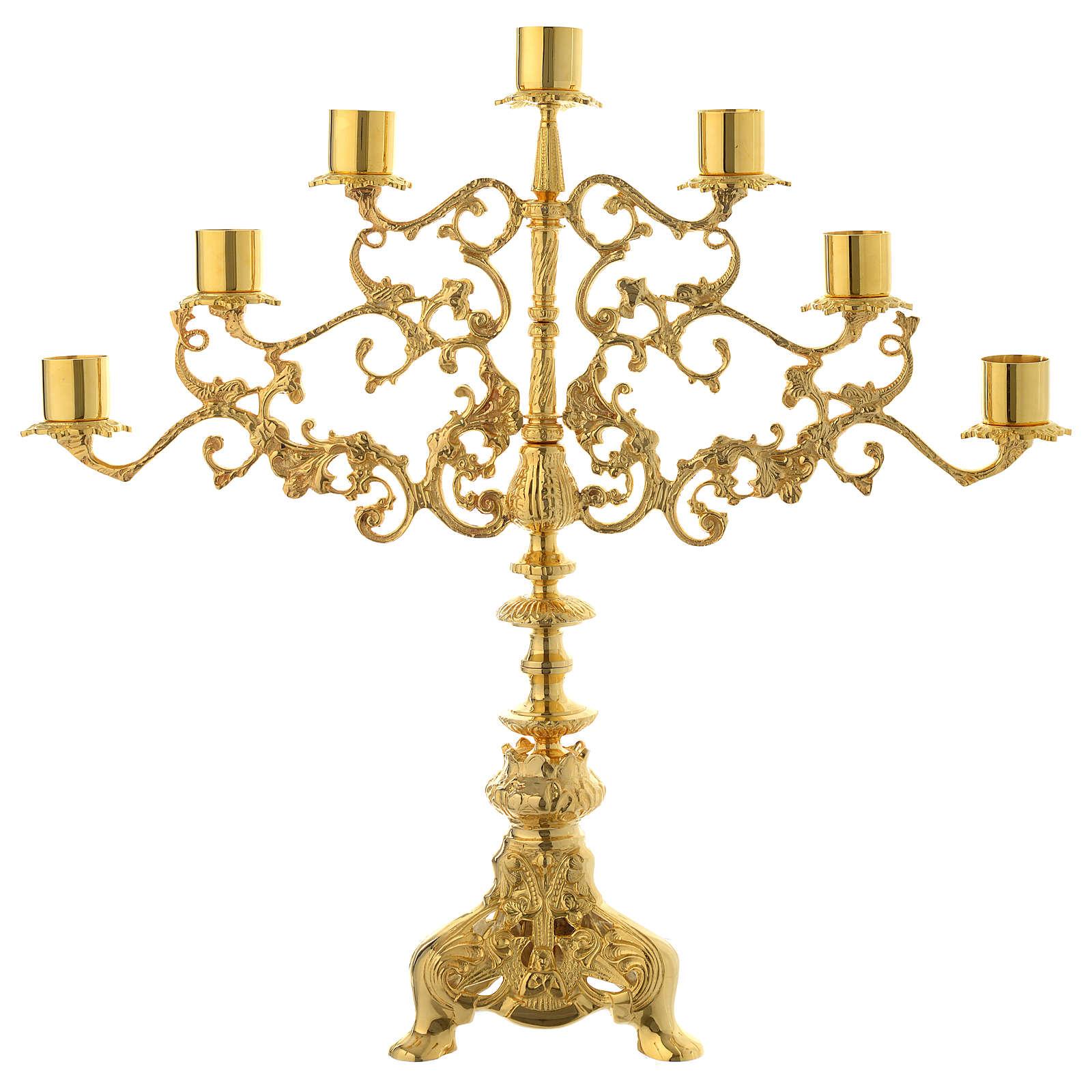 Candelabra for seven lights in gold brass 4