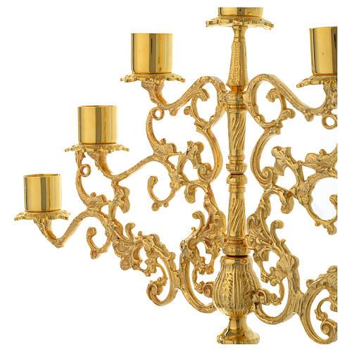 Candelabra for seven lights in gold brass 3