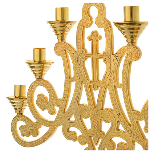 Candelabra for seven lights with cross in gold brass 3