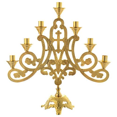 Candelabro a 7 fiamme croce ottone dorato 1