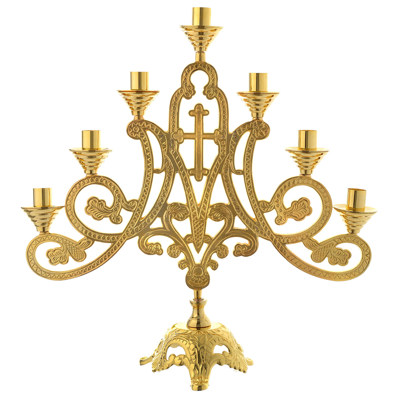 Candelabra for seven lights with cross in gold brass 4
