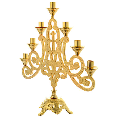 Candelabra for seven lights with cross in gold brass 2