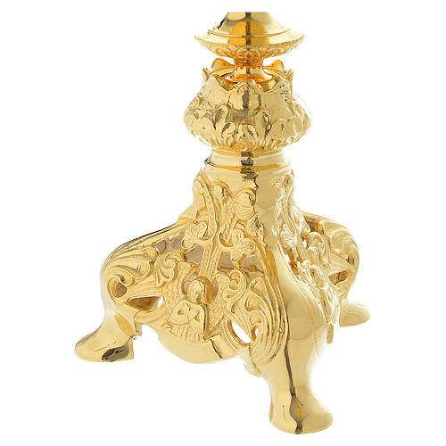 Chandelier 3 bras avec bague et verre laiton doré 7