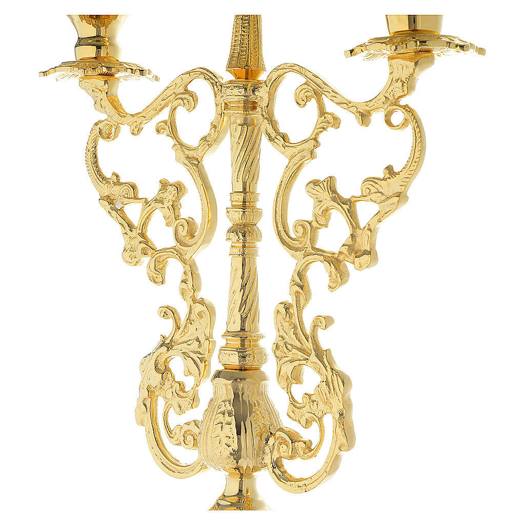 Candelabra for three lights with glass and gold brass cartridge 4