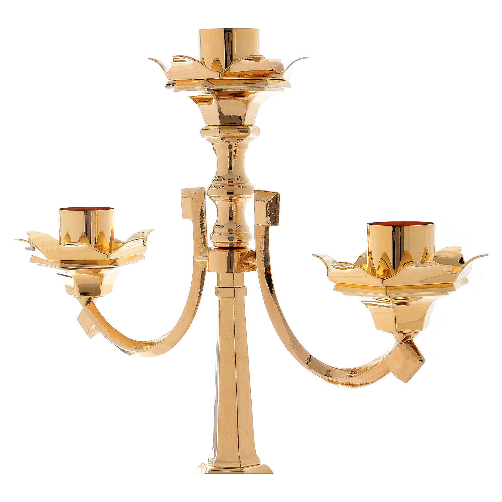 Kerzenleuchter 3 flammen Barock Stil 100cm Messing 4