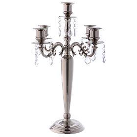 Candelabros: Candeabro portavelas Níquel 5 llamas diám. 38 cm h. 55 cm