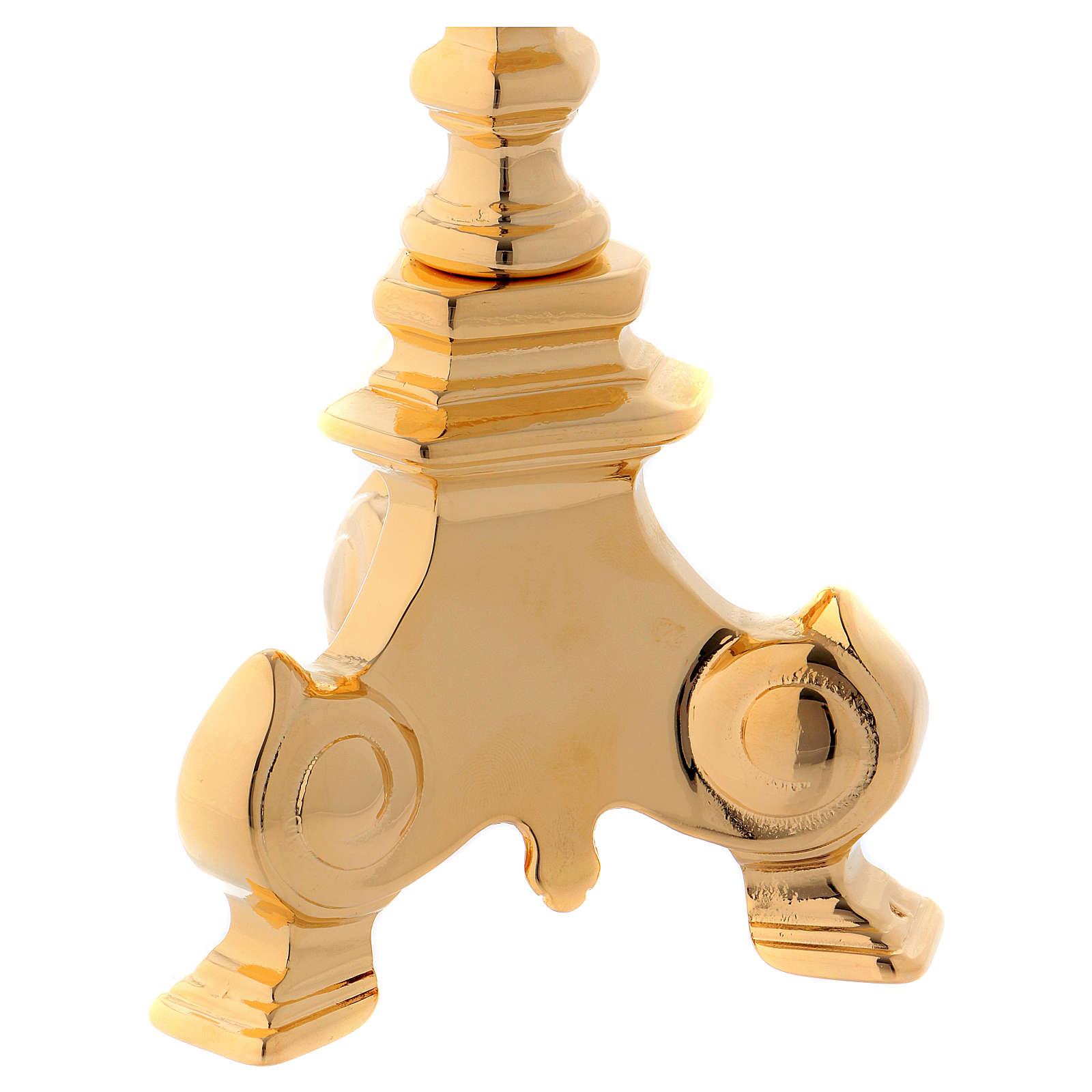 Candelabro de latón dorado base tres pies 4