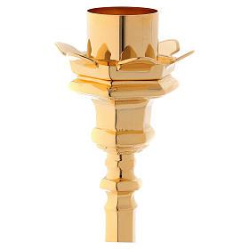 Candelabro in ottone dorato base tre piedi s2