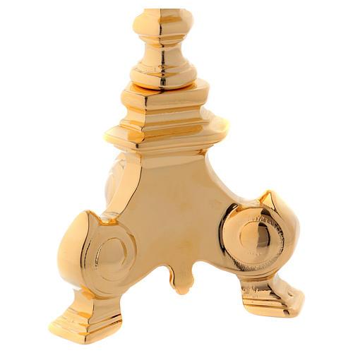 Candelabro in ottone dorato base tre piedi 3