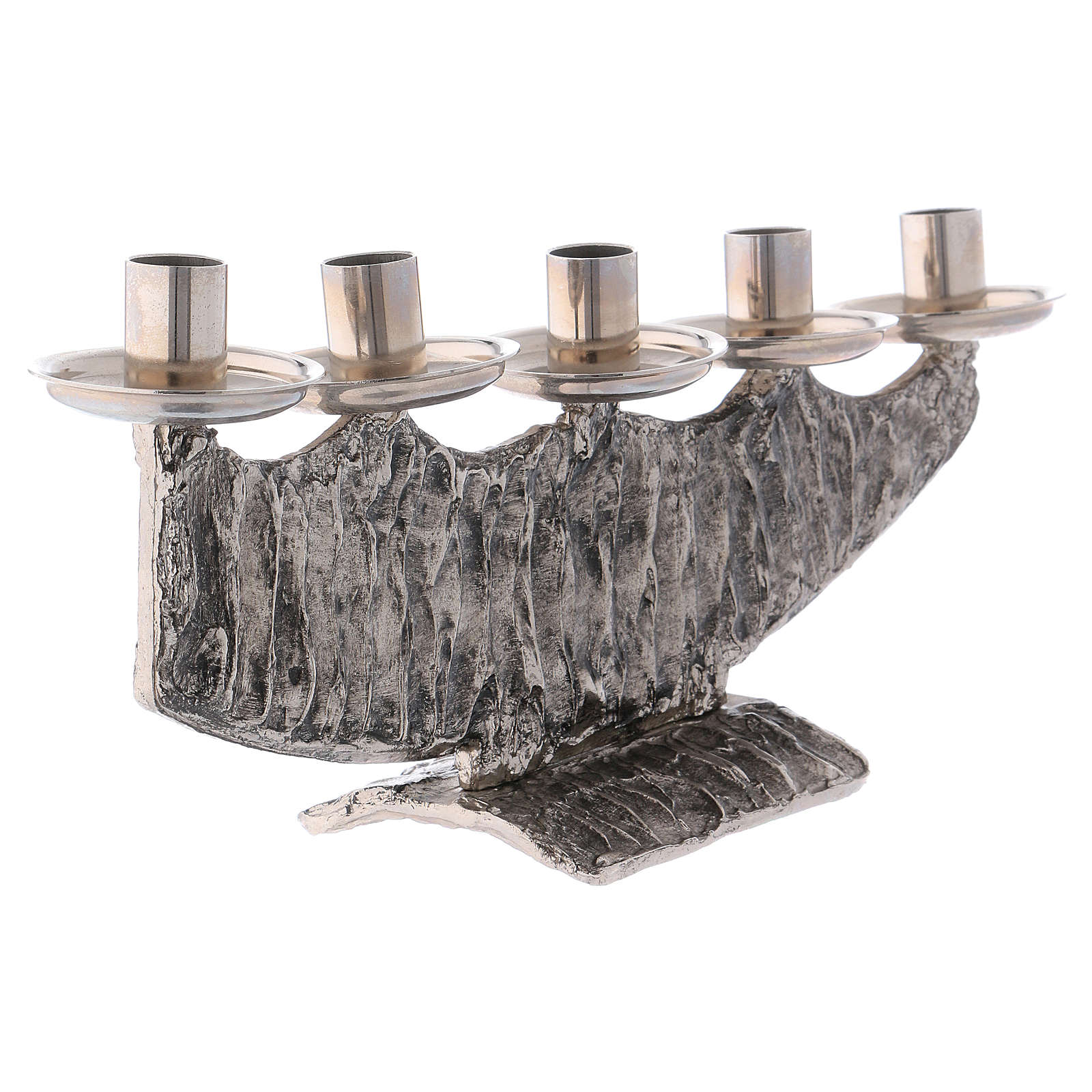 STOCK 5 branch candle holder in fused brass 4