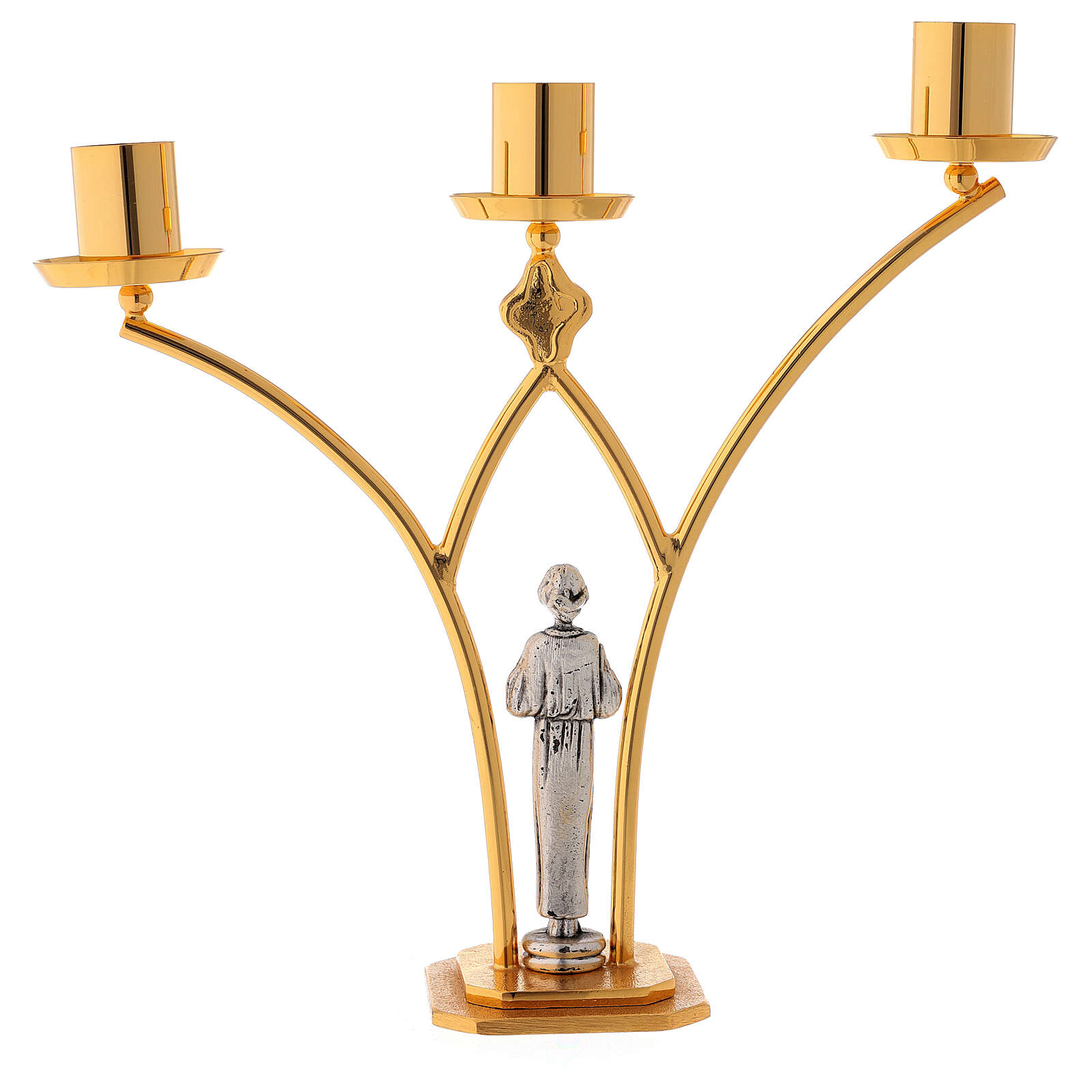 Brass altar lamp with 3 flames h. 30 cm 4