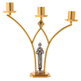 Brass altar lamp with 3 flames h. 30 cm s1