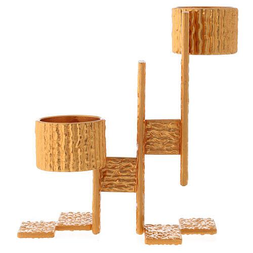 Lámpara de pared de misa de latón fundido 2 llamas 4