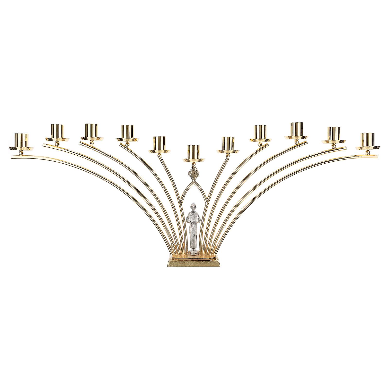 Candelabro para misa de latón con santo 11 llamas h. 30 cm 4