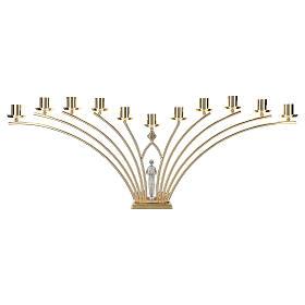 Candelabro para misa de latón con santo 11 llamas h. 30 cm s5